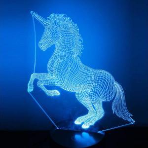 lampada ologramma unicorno blu