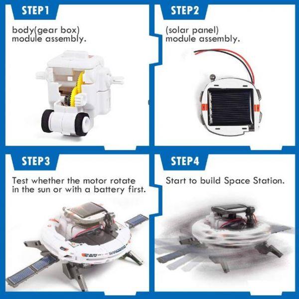 Kit Robot Solare Educativo 6 in 1 di STEM fasi di assemblaggio