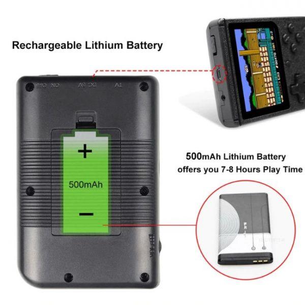 Console di gioco portatile retrò a 8 bit con 400 giochi integrati e batteria a lunga durata