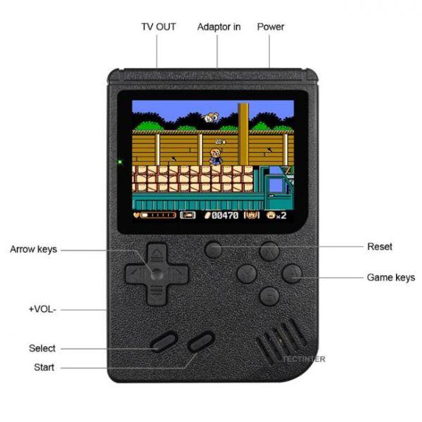 Console di gioco portatile retrò a 8 bit con 400 giochi integrati e più pulsanti