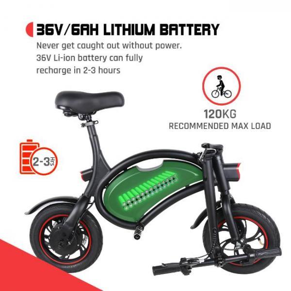 Bicicletta elettrica nera pieghevole facile con batteria ad alta capacità