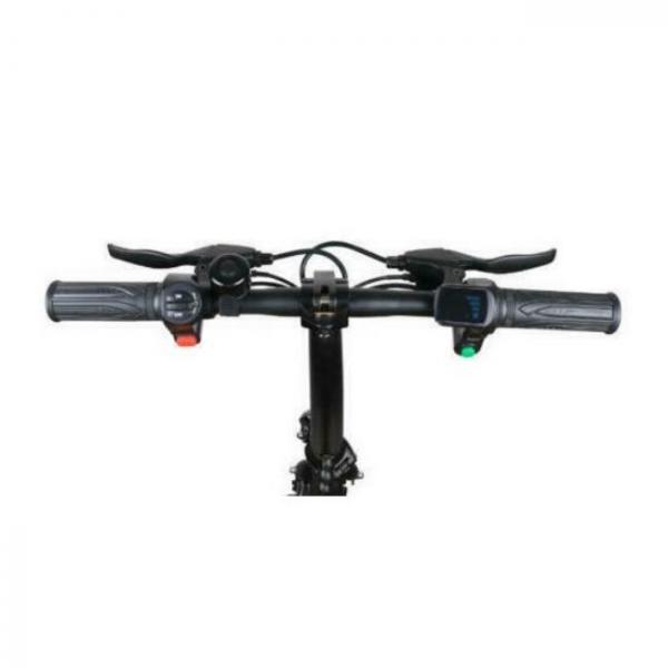 Bicicletta elettrica nera pieghevole facile - volante