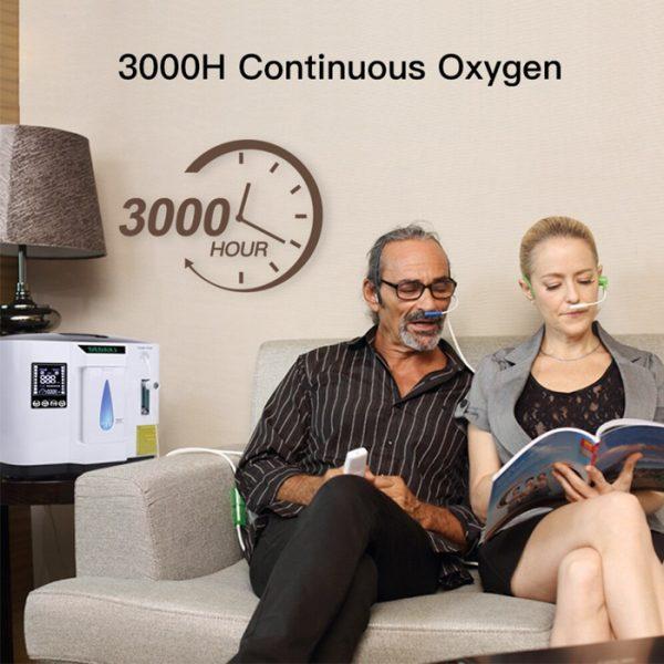 Macchina portatile per concentratore di ossigeno portatile per purificatore d'aria regolabile con 3000 ore di ossigeno continuo