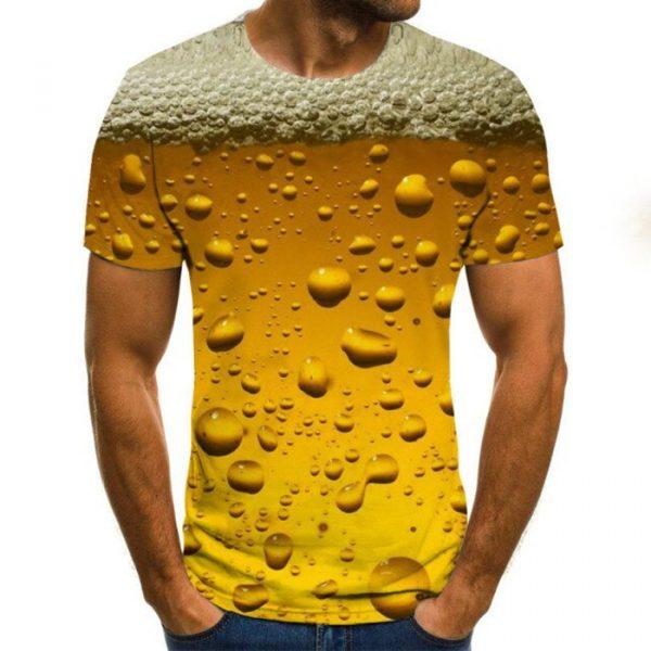 T-shirt da uomo con stampa 3D Summer Beer Streetwear casual 2021