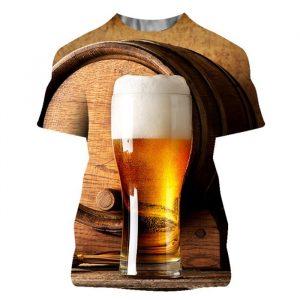 T-shirt da uomo con stampa 3D Summer Beer Casual Streetwear 2021