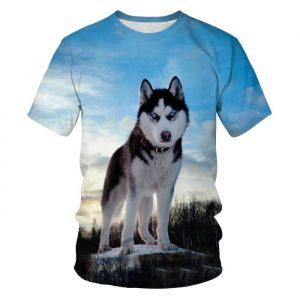 T-shirt da uomo con stampa 3D per cani Casual Streetwear 2021