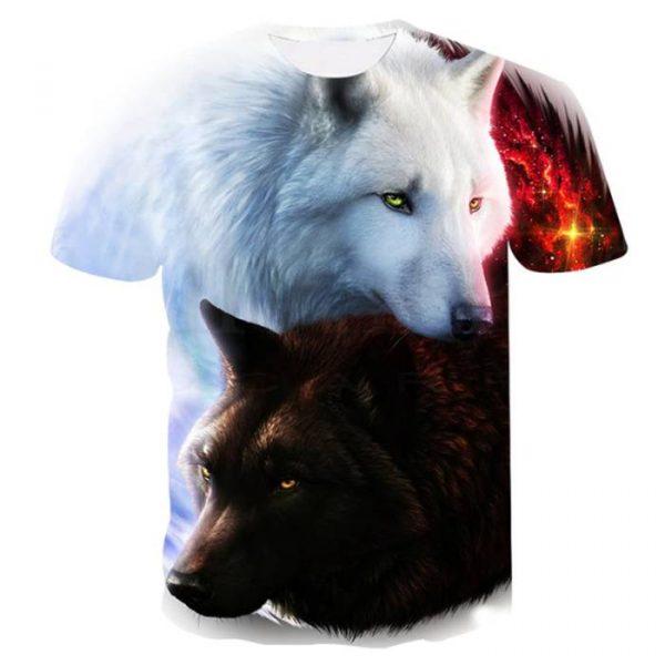 T-shirt con stampa 3d dei lupi a basso prezzo