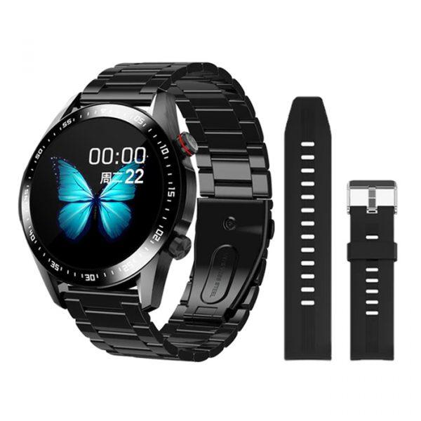 orologio sportivo intelligente completamente impermeabile in silicone nero liscio